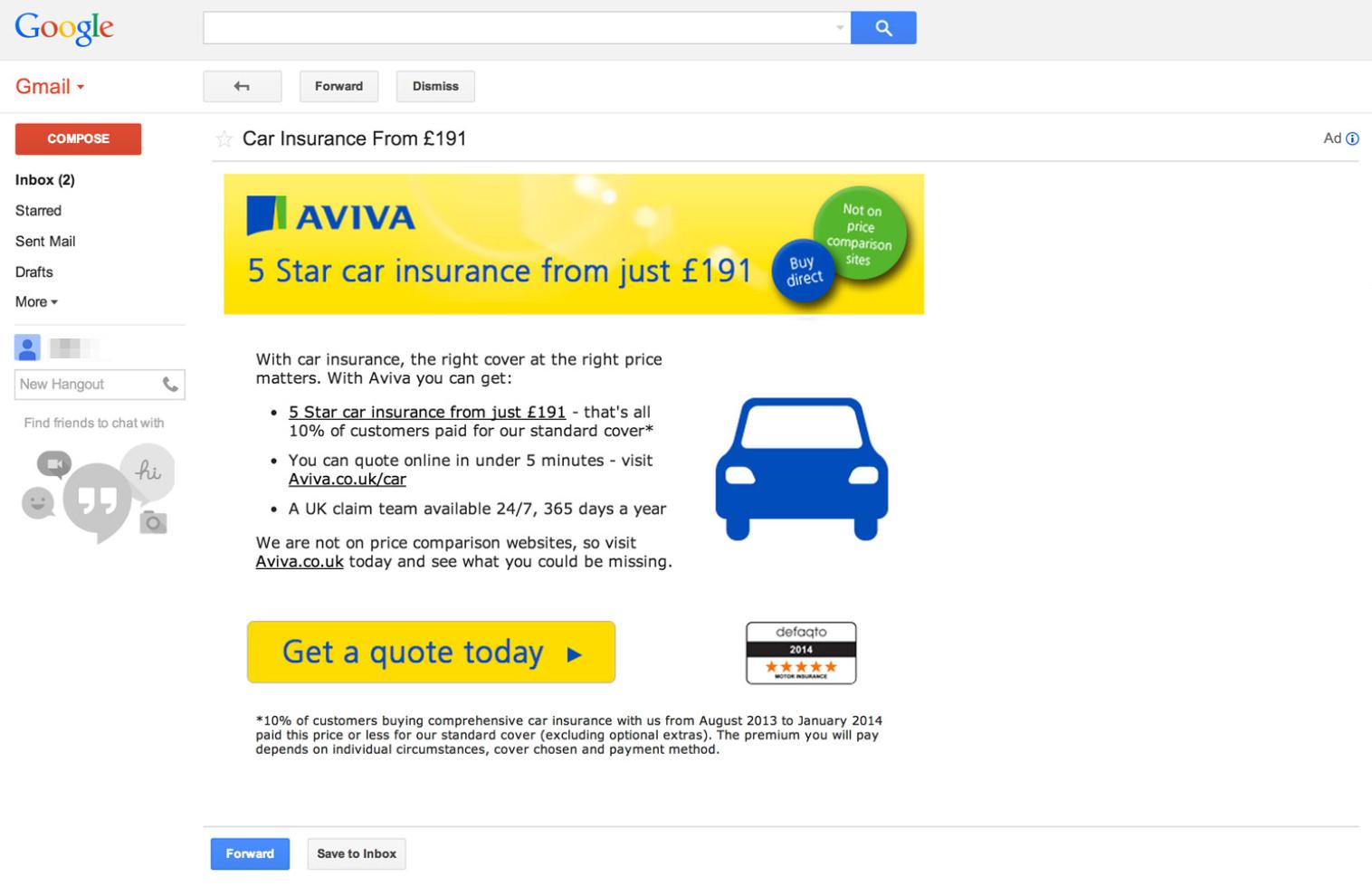 Reklama Gmail - AdWords